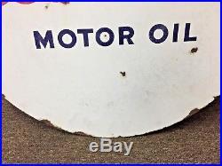 Vintage Esso 30 Double Sided Gas Station Porcelain Sign Motor Oil