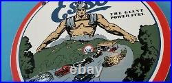 Vintage Esso Gasoline Porcelain Gas Motor Oil Service Station Pump Plate Ad Sign