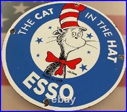 Vintage Esso Gasoline Porcelain Sign Dr. Seuss Gas Station Pump Plate Motor Oil