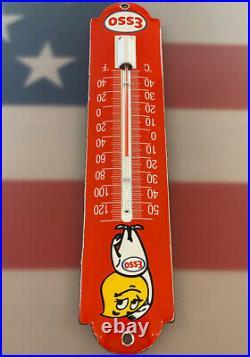 Vintage Esso Motor Oil Porcelain Thermometer Service Station Gas Pump Plate