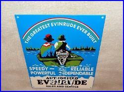 Vintage Evinrude Outboard Boat Motor Sales Service 12 Metal Gasoline & Oil Sign