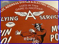 Vintage Flying A Gasoline Porcelain Pin Up Sign Gas Station Motor Oil Football