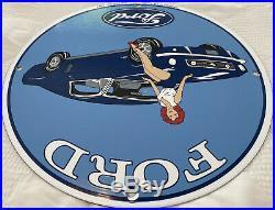 Vintage Ford Motors Porcelain Pin Up Sign, Gas Station, Pump Plate, Motor Oil