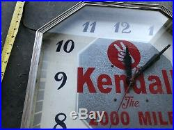 Vintage Gas Station Kendall Motor Oil Advertising Clock Sign