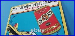 Vintage Gilmore Lion Head Motor Oil Airplane Porcelain Metal Gasoline Sign