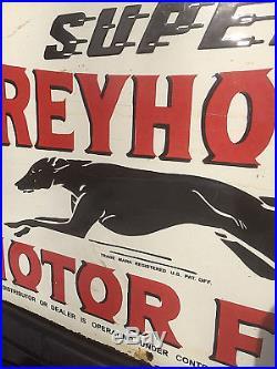 Vintage Greyhound Motor Oil Porcelain Sign With Dog Graphic Gas Gasoline 30X18