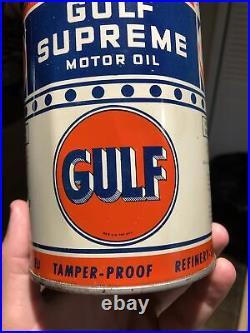 Vintage Gulf Supreme Motor Oil 1 Quart Oil Can Sign Metal RARE Bullseye