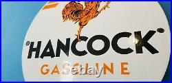 Vintage Hancock Gasoline Porcelain Gas Service Station Pump Plate Motor Oil Sign