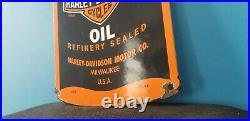 Vintage Harley Davidson Motorcycles Porcelain Gas Motor Oil Quart Can Pump Sign