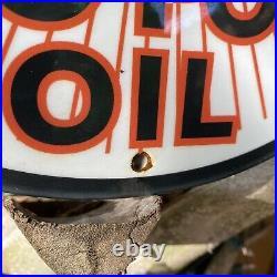 Vintage Hudson Motor Oil Porcelain Metal Sign USA Octane Gas Pump Plate Station