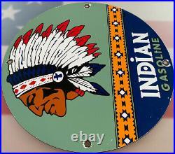 Vintage Indian Gasoline Porcelain Sign Gas Station Motor Oil Pump Plate Chief
