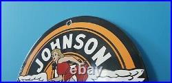 Vintage Johnson Gasoline Porcelain Gas Motor Oil Service Pin Up Girl Pump Sign