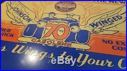 Vintage Johnson Gasoline Porcelain Gas Motor Oil Service Station Pump Sign