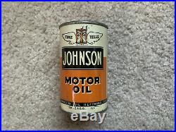 Vintage Johnson Motor Oil Gas Can Sign Time Tells Coin Bank NICE