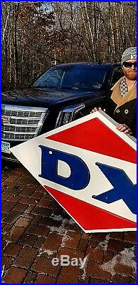Vintage LG Porcelain DX Motor Oil Gas Gasoline Sign D-X Service Station 83x50