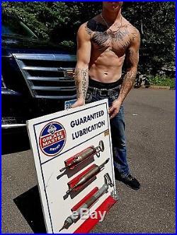 Vintage LG Skelly Grease Motor Oil Gun Holder Sign Gasoline Gas Oil