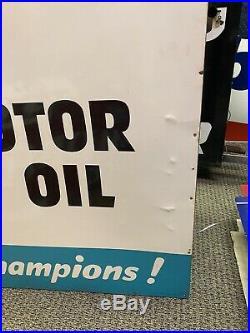 Vintage Large Oilzum Motor Oil Gasoline Sign Not Porcelain Dealership Gas Oil