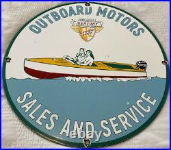 Vintage Mercury Outboard Boat Motors Porcelain Metal Sign 11.75 Fishing Gas Oil