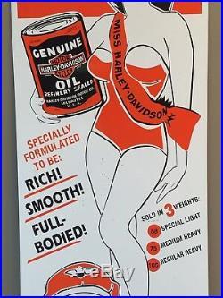 Vintage Miss Harley Davidson Motorcycle Motor Oil Sign Metal Advertising Sign