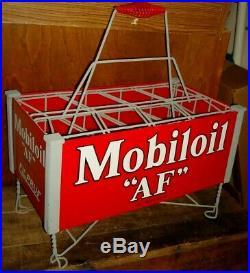Vintage Mobil Motor Oil Can Bottle Rack Sign Filpruf Bottle Restored Original