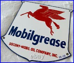 Vintage Mobilgrease Pegasus Porcelain Sign Motor Oil Service Gasoline Station