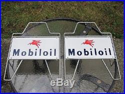Vintage Mobiloil Oil Can Metal Rack World's Best Known Quality Motor Oil