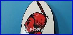 Vintage Mohawk Gasoline Porcelain Ad Gas & Motor Oil Service Station Pump Sign