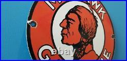 Vintage Mohawk Gasoline Porcelain Gas Motor Oil Service Station Pump Sign