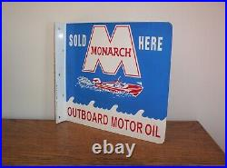 Vintage Monarch Outboard Motor Oil Sold Here Metal Flange Sign Double Sided Boat
