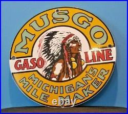 Vintage Musgo Gasoline Porcelain Gas Motor Oil Service Station Pump Sign