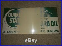 Vintage ORIGINAL 2-side QUAKER STATE DUPLEX OUTBOARD MOTOR OIL ADVERTISING SIGN