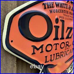 Vintage Oilzum Embossed Metal Sign Porcelain USA Motor Oil Gas Mans Head Service