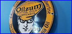 Vintage Oilzum Gasoline Porcelain Gas Service Station Pump Plate Motor Oil Sign