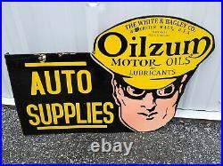 Vintage Oilzum Motor Oils Double Sided Flange Porcelain Sign (Rare)