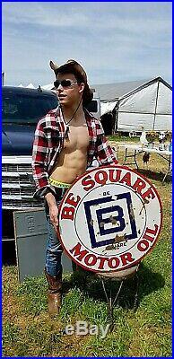 Vintage Orig Old 30in Porcelain B Square Motor Oil Gasoline Sign Gas 2sided GR8