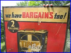 Vintage Original 1918 Tidex And Veedol Motor Oil 2 Gallon Can Sign Ext Rare
