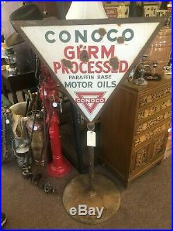 Vintage Original 1930's Conoco Motor Oil Porcelain Double Sided Lollipop Sign
