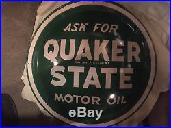 Vintage Original 1940's NOS Quaker State Motor Oil 24 Round Convex Button Sign