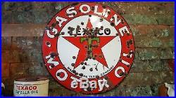 Vintage Original 2-Sided TEXACO Motor Oil Station Porcelain 30s Advertising SIGN