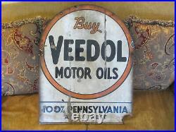 Vintage Original Pre War Veedol Motor Oil Porcelain Double Side Advertising Sign