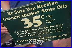 Vintage Original Quaker State Motor Oil Early Tin Advertising Sign Gas Station