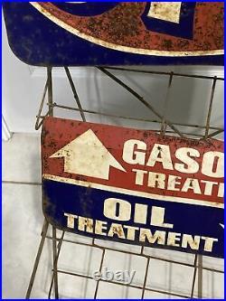 Vintage Original STP Gas Service Station Motor Oil Gasoline Display Rack Sign