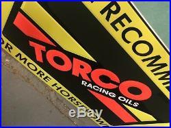 Vintage Original Torco Motor Oil Tin Sign Racing Fuels Drag Race Car Dealer Rare