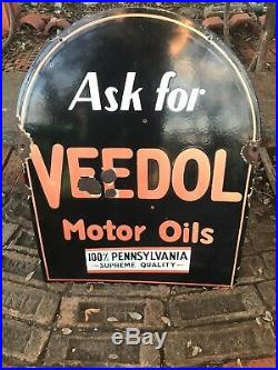 Vintage Original VEEDOL Motor Oil Sign, Double-sided, Tombstone! Rare