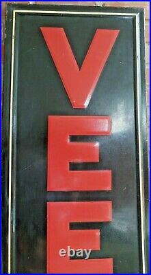 Vintage Original Veedol Motor Oils Embossed Six Foot Tin Sign Good Condition