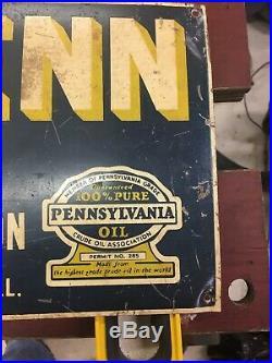 Vintage Original WelchPenn Motor Oil Sign NR