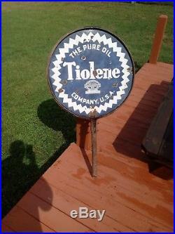 Vintage PURE TIOLENE Motor Oil DSP Porcelain Lollipop Advertising Round SIGN
