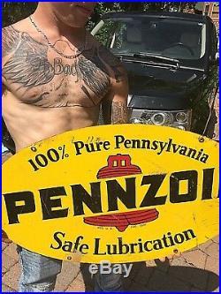Vintage Pennzoil Motor Oil 2 sided Gasoline Metal Sign Gas Oil 31inX18in