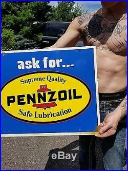 Vintage Pennzoil Motor Oil Metal 2sided Sign Gasoline Gas 23X18