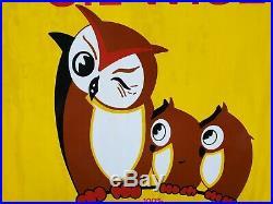 Vintage Pennzoil Motor Oil Owl Porcelain Sign Rare Service Station Advertising